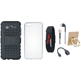 J5 Prime Shockproof Tough Defender Cover with Ring Stand Holder, Silicon Back Cover, Digital Watch, Earphones and OTG Cable