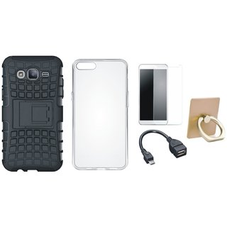 J5 Prime Shockproof Tough Armour Defender Case with Ring Stand Holder, Silicon Back Cover, Tempered Glass and OTG Cable