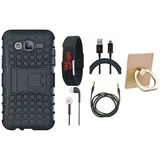 Nokia 3 Dual Protection Defender Back Case with Ring Stand Holder, Digital Watch, Earphones, USB Cable and AUX Cable