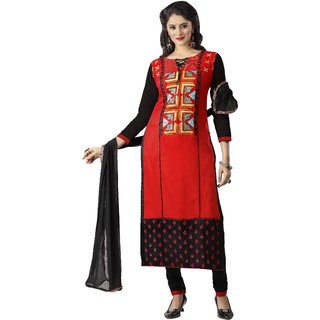 Aagaman Sophisticated Red Colored Embroidered Blended Cotton Salwar Kameez (Unstitched)