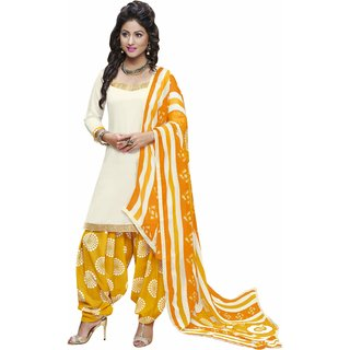 Aagaman Classy Off White Colored Printed Blended Cotton Salwar Kameez (Unstitched)
