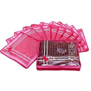 Fashion Bizz Pink Non Woven Regular Bow Single Saree Bags 12 Pcs