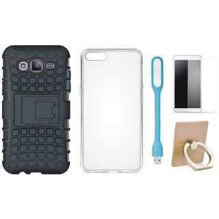 Nokia 3 Defender Back Cover with Kick Stand with Ring Stand Holder, Silicon Back Cover, Tempered Glas and USB LED Light