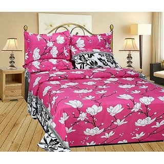 Reet Textile Pink Floral with Black Border Cotton Double Bedsheet With 2 Pillow Covers