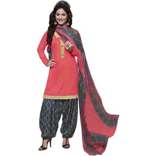 Aagaman Trendy Peach Colored Printed Blended Cotton Salwar Kameez (Unstitched)