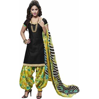 Aagaman Pleasing Black Colored Printed Blended Cotton Salwar Kameez (Unstitched)