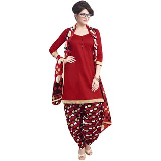 Aagaman Amusing Red Colored Printed Blended Cotton Salwar Kameez (Unstitched)