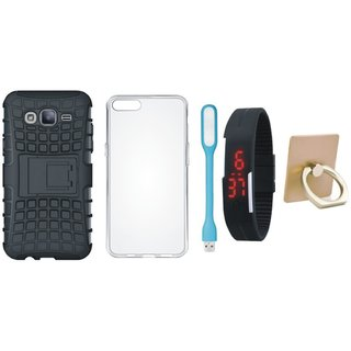 Nokia 3 Shockproof Tough Armour Defender Case with Ring Stand Holder, Silicon Back Cover, Digital Watch and USB LED Light
