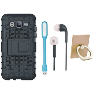 Motorola Moto G4 Plus Shockproof Tough Armour Defender Case with Ring Stand Holder, Earphones and USB LED Light