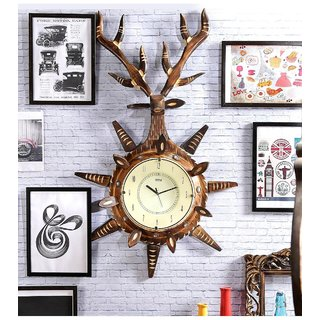 Brown Mango Wood Wall Clock by Shilpi