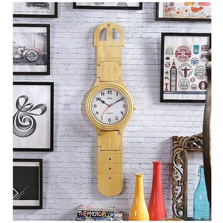 Brown Mango Wood Wall Clock by Shilpi