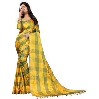 Wilori Yellow Cotton Saree
