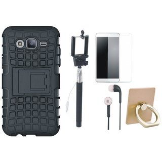 Lenovo K5 Shockproof Kick Stand Defender Back Cover with Ring Stand Holder, Free Selfie Stick, Tempered Glass and Earphones