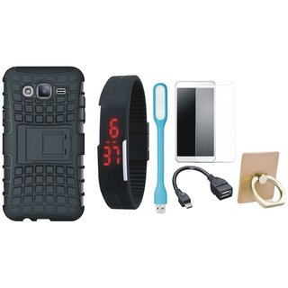 Nokia 5 Defender Tough Armour Shockproof Cover with Ring Stand Holder, Free Digital LED Watch, Tempered Glass, LED Light and OTG Cable