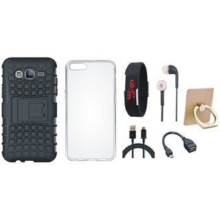 Lenovo K5 Dual Protection Defender Back Case with Ring Stand Holder, Silicon Back Cover, Digital Watch, Earphones, OTG Cable and USB Cable