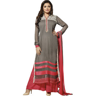 5b7febec76 Swaron Women's Grey and Red Colored Embroidery Georgette Semi-Stitched  Salwar Suit