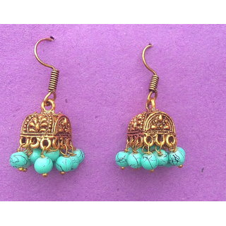 trendy yellow gold plated jhumka traditional jhumka earrings