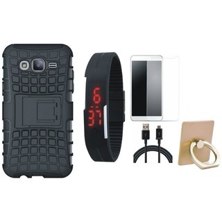Nokia 5 Shockproof Kick Stand Defender Back Cover with Ring Stand Holder, Free Digital LED Watch, Tempered Glass and USB Cable