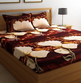 Reet Textile 3D Printed Brown Polycotton Double Bed Sheet with 2 Pillow Covers