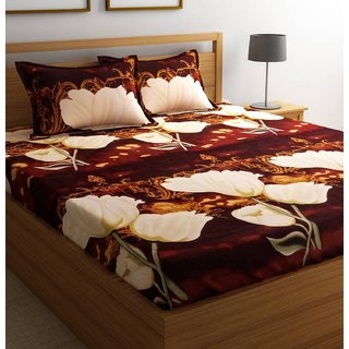 Reet Textile 3D Printed Poly-cotton Double Bed Sheet with 2 Pillow Covers