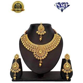 NMJ Copper Bridal LCT Necklace Maang Tikka Choker For Women