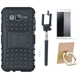 Nokia 5 Dual Protection Defender Back Case with Ring Stand Holder, Free Selfie Stick and Tempered Glass