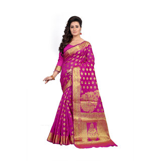 Vastrabazar Pink And Golden Dhupian Designer Saree