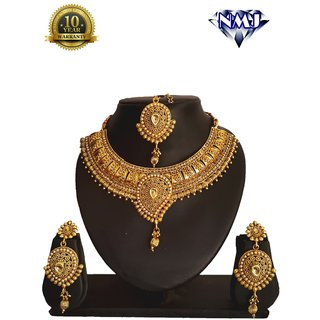 d9f232ae6699c Buy NMJ Copper Bridal LCT Necklace Maang Tikka Choker Jewellery Set Online  - Get 88% Off