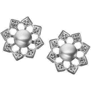 Sri Jagdamba Pearls Flower Cz Grey Earrings