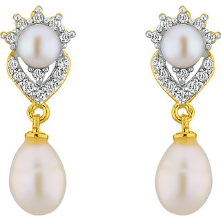 Sri Jagdamba Pearls Sparkle Drop Czpearl Earrings