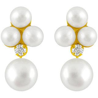 Sri Jagdamba Pearls Snow White Pearl Earrings