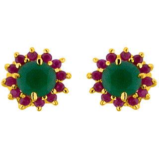 Sri Jagdamba Pearls Green Stone Studs