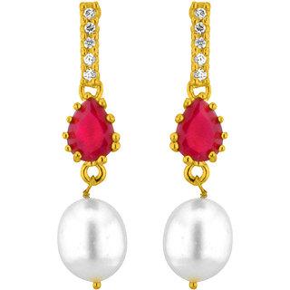 Sri Jagdamba Pearls Red Drop Pearl Earrings