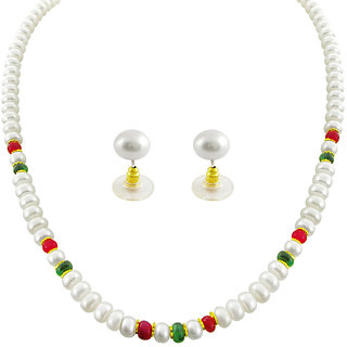 13822a72676e8 Sri Jagdamba Pearls Real Ruby And Emerald Pearl Set :