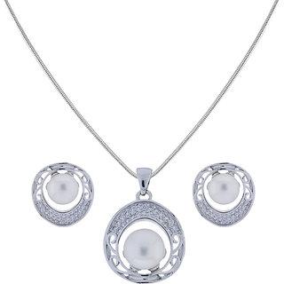 Sri Jagdamba Pearls Cz Pearl Pendant Set