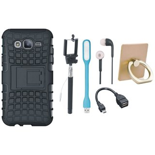 Motorola Moto G5s Defender Tough Armour Shockproof Cover with Ring Stand Holder, Selfie Stick, Earphones, OTG Cable and USB LED Light