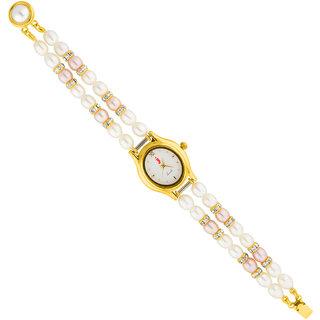 Sri Jagdamba Pearls Two String Cz Pearl Watch