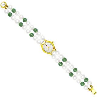 Sri Jagdamba Pearls Classic Green Pearl Watch :