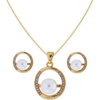 Sri Jagdamba Pearls Round Pearl Pendant Set