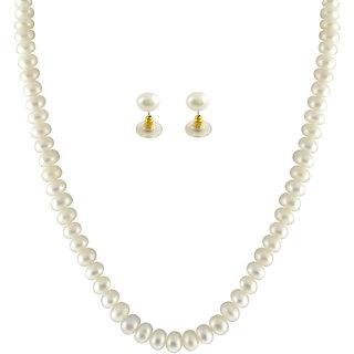 Sri Jagdamba Pearls Button White Pearl Set