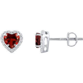 Silver Dew Earrings For Women,s In Pure Silver Heart Shape Red Garnet Gemstone CZ Diamond Rhodium Plating (5mm)