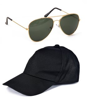 Fast Fox Black Cap And Green Sunglasses Pack OF 2