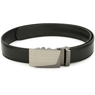 Pacific Gold Fashionable Autolock Buckle Black Geniune Leather Formal Casual Belt for men