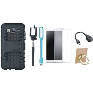 Nokia 6 Defender Tough Hybrid Shockproof Cover with Ring Stand Holder, Free Selfie Stick, Tempered Glass, LED Light and OTG Cable