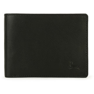 Pacific Gold Black Casual Genuine Leather Bifold Multi Compartment Wallets for Men