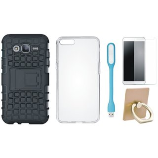Nokia 6 Shockproof Tough Armour Defender Case with Ring Stand Holder, Silicon Back Cover, Tempered Glas and USB LED Light