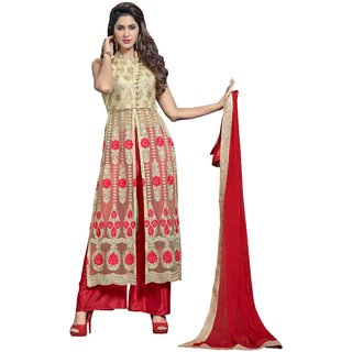 Aagaman Tantalizing Beige Colored Embroidered Net Anarkali