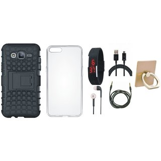 Nokia 6 Shockproof Tough Armour Defender Case with Ring Stand Holder, Silicon Back Cover, Digital Watch, Earphones, USB Cable and AUX Cable