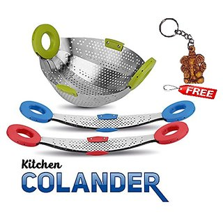 Foldable Rice Or Fruit Vegetable Kitchen Colander Stainless Steel