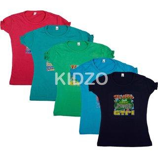 Kidzo Girls Cotton T-shirt combo of 5